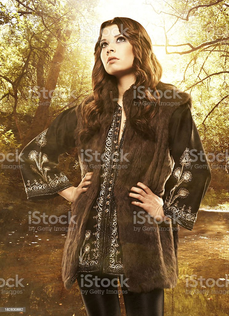 Confident fashion model in the nature royalty-free stock photo