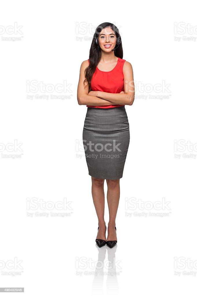 Confident female customer service representative stock photo