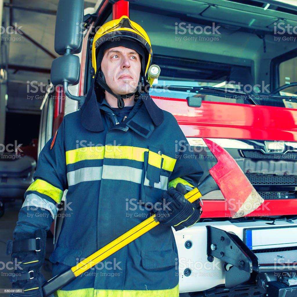 Confident Firefighter Portrait stock photo