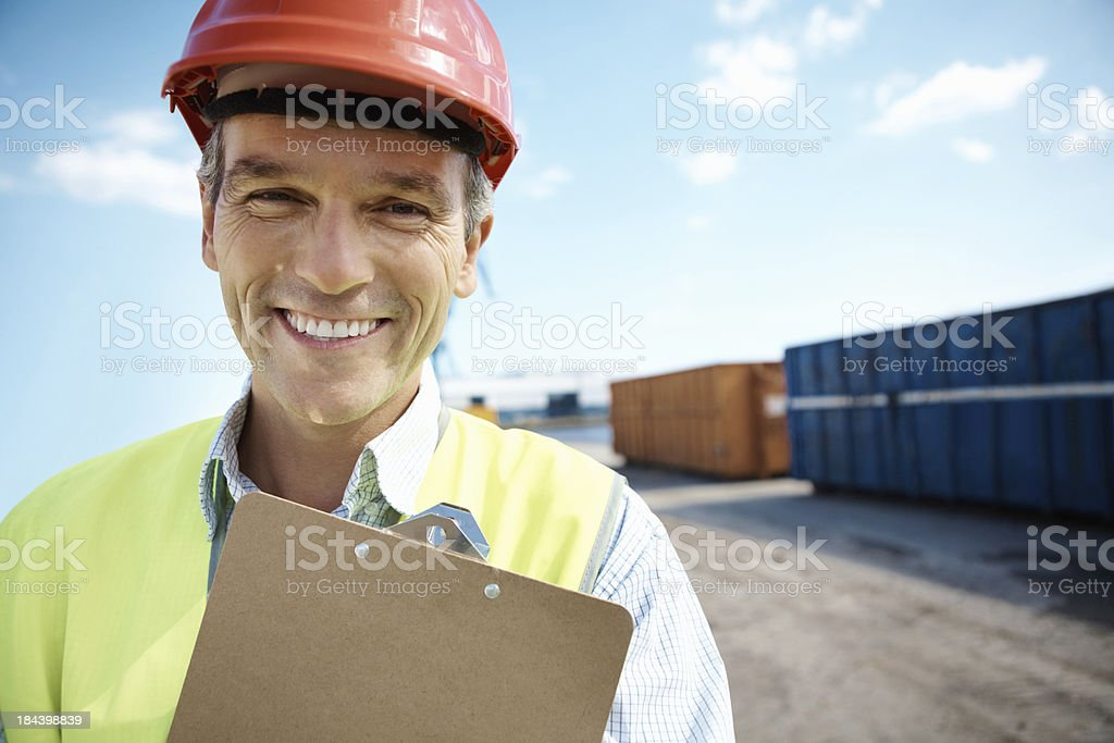 Confident foreman at construction site royalty-free stock photo