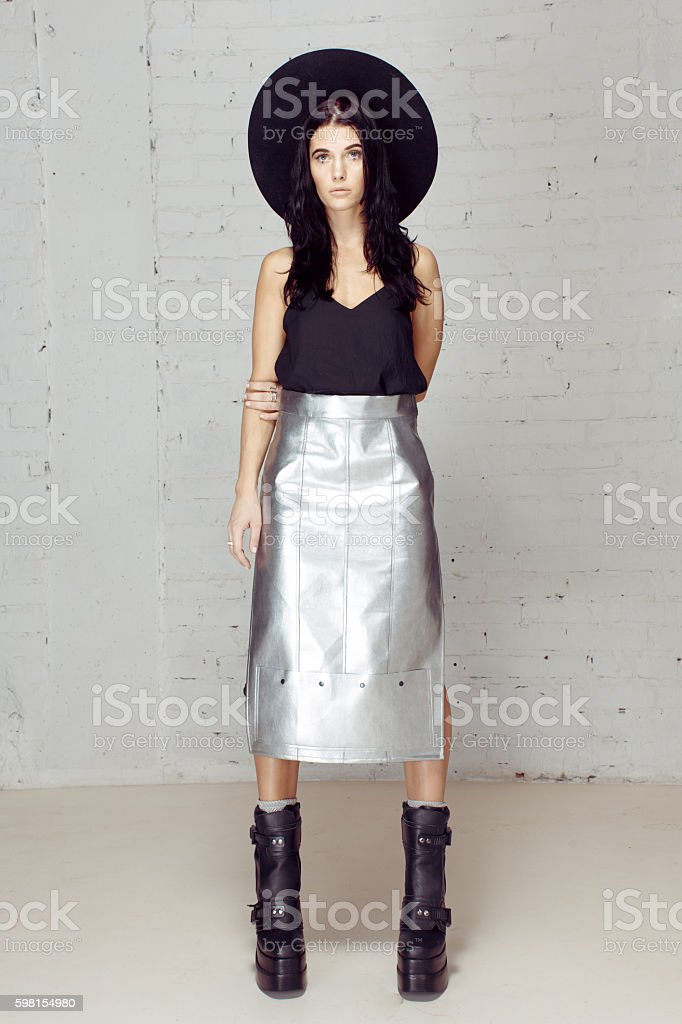 Confident girl holding all in her hands, control stock photo