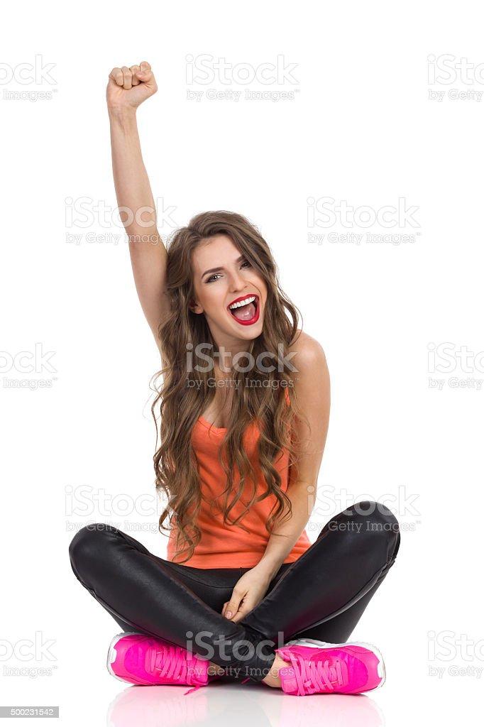 Confident Girl Shouting stock photo