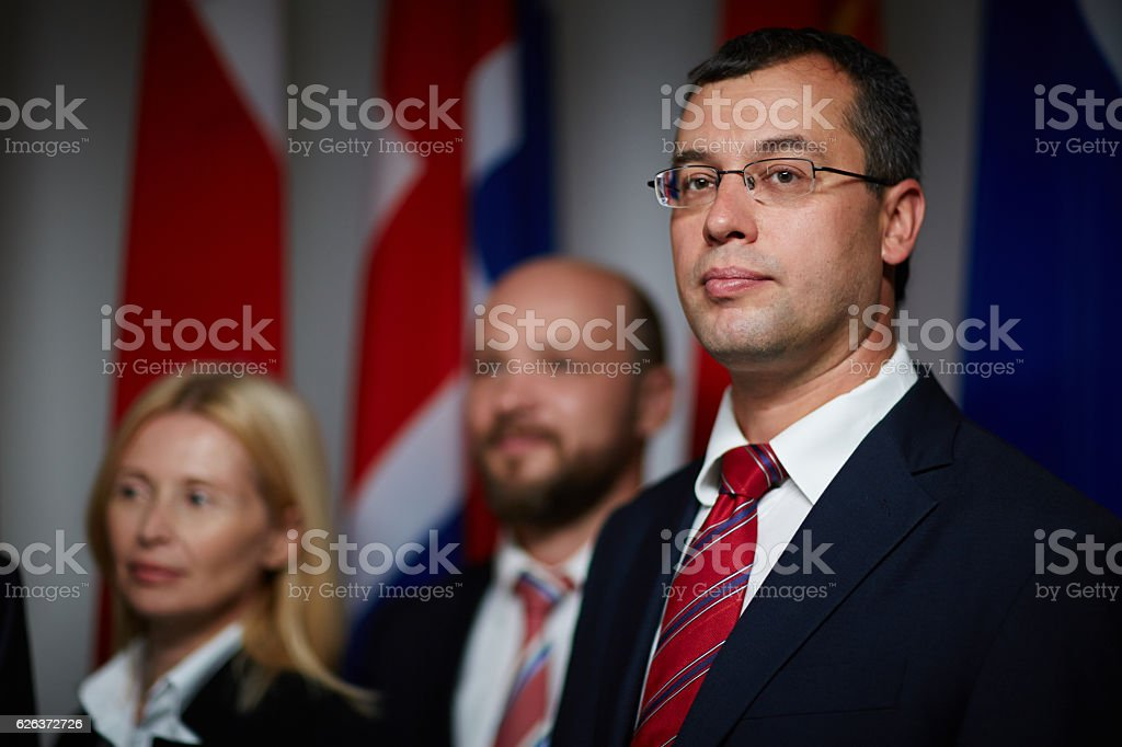 Confident good-looking politician stock photo