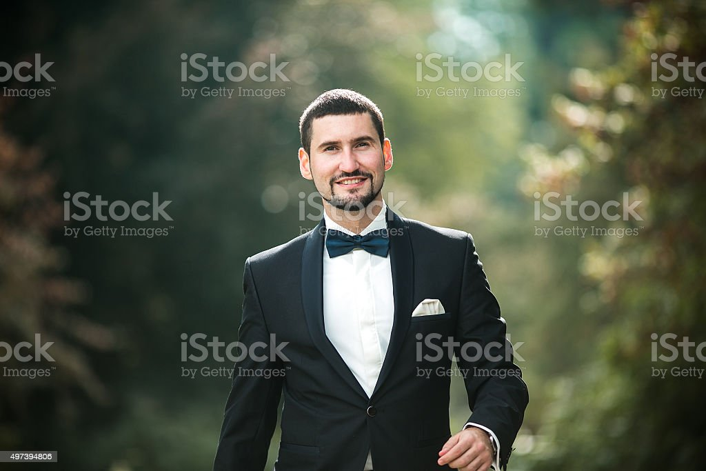 confident groom posing stock photo