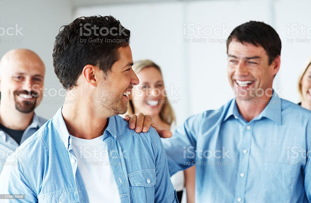 Confident group of business people looking happy stock photo