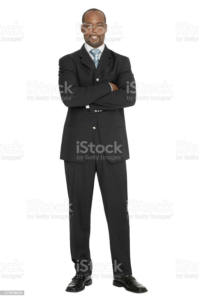 Confident Handsome Businessman Arms Crossed stock photo