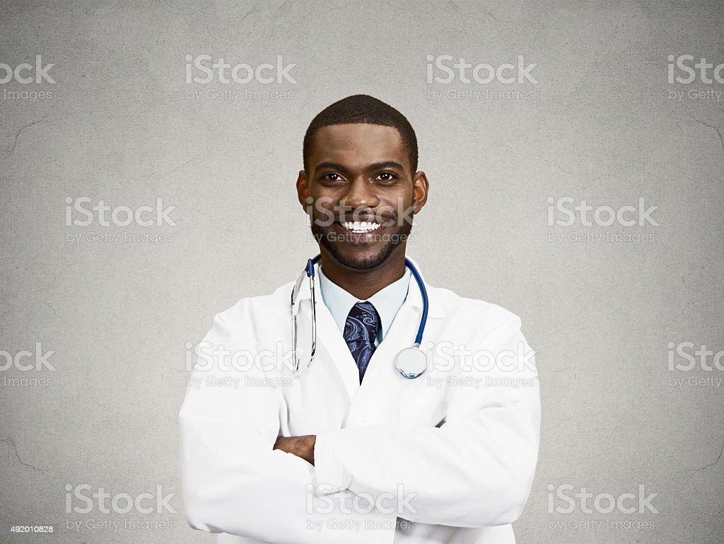 Confident, happy, smiling doctor stock photo