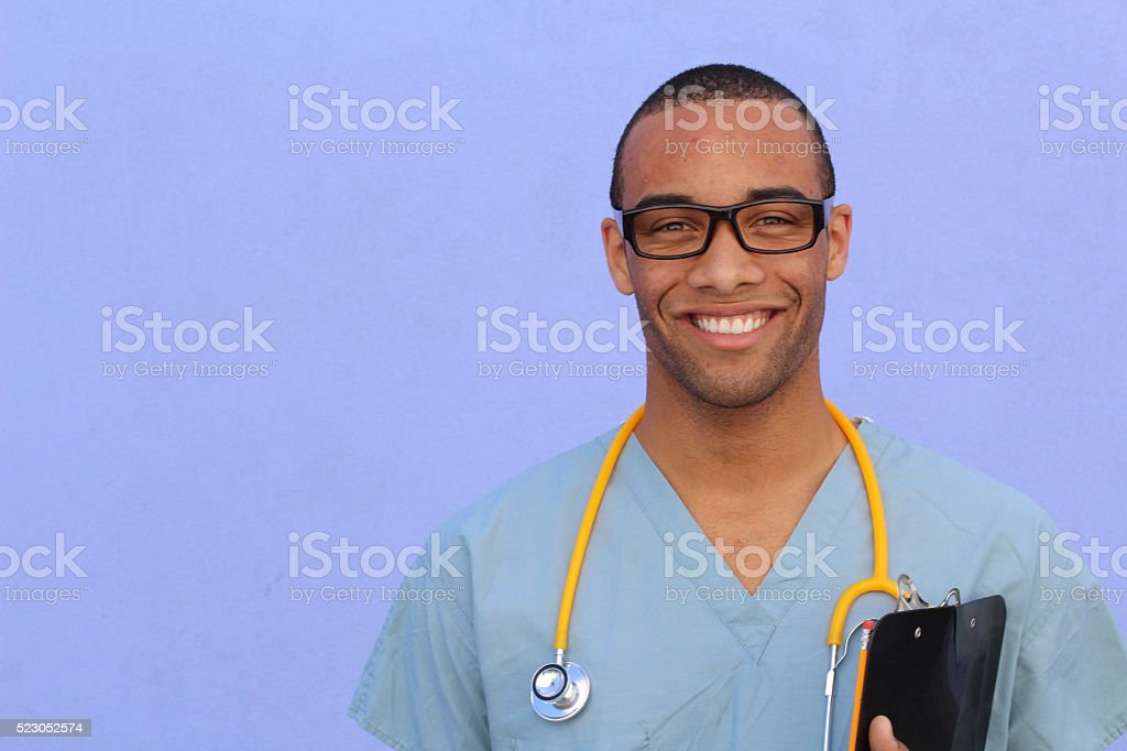 confident healthcare professional with copy space stock photo