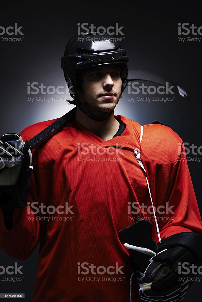 Confident hockey player royalty-free stock photo