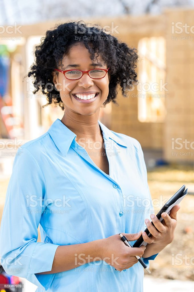 Confident home builder stock photo