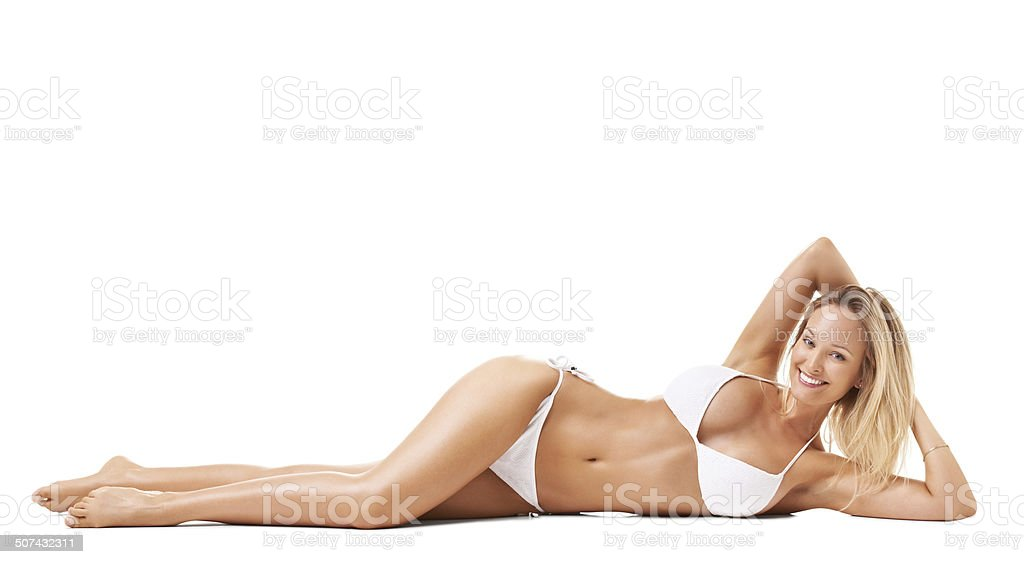 Confident in her bikini stock photo