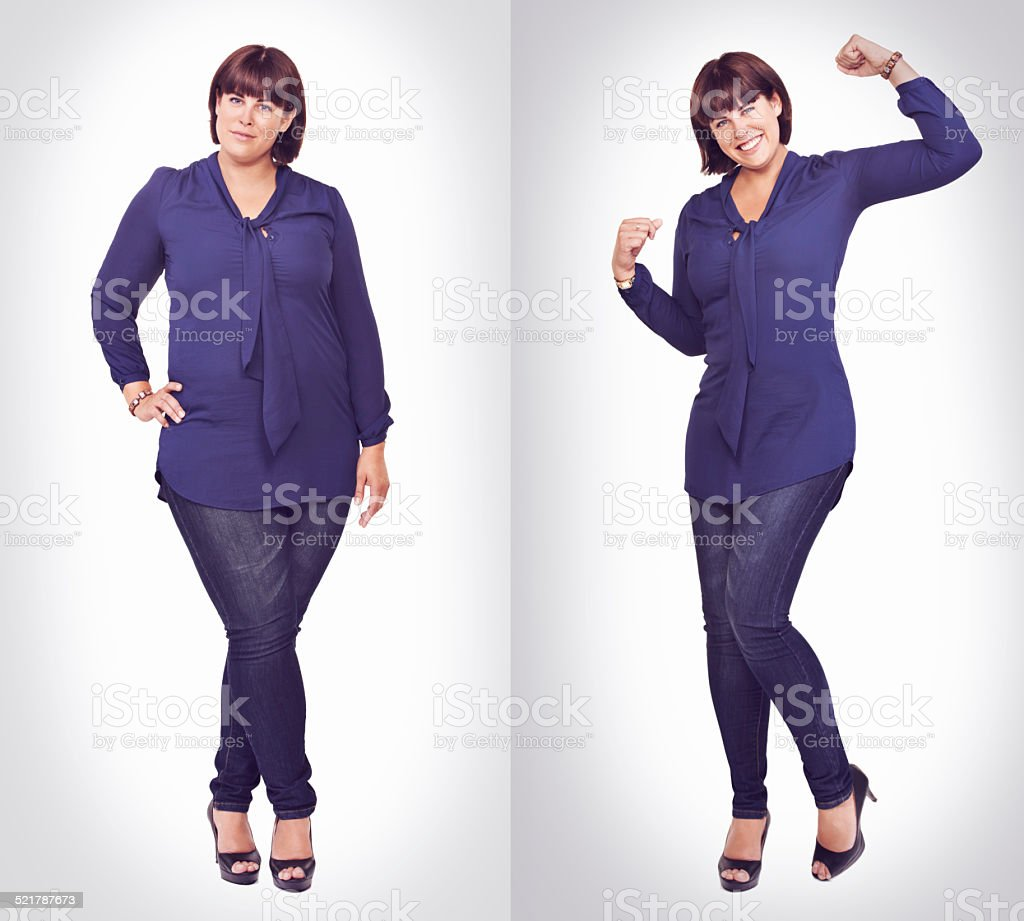 Confident in her curves stock photo