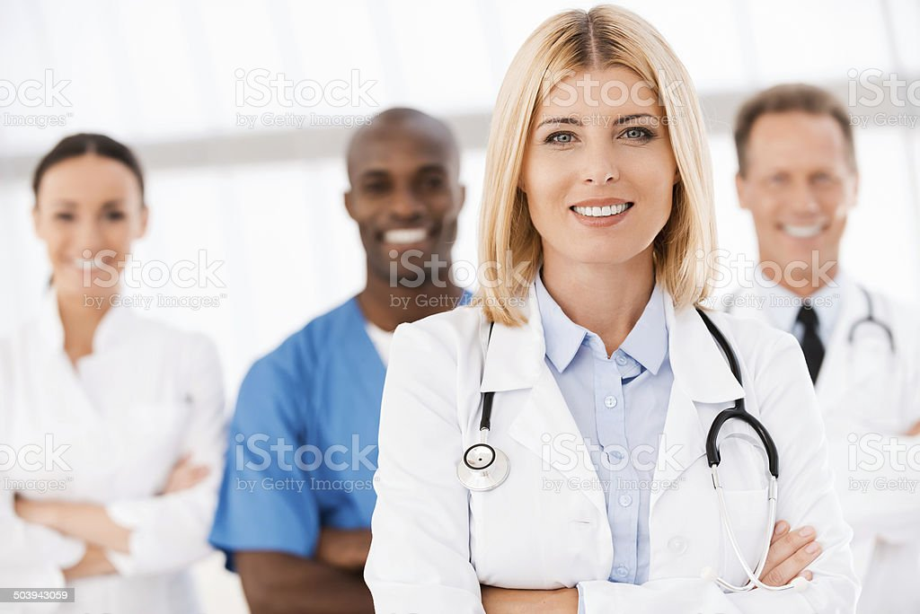 Confident in her team. stock photo