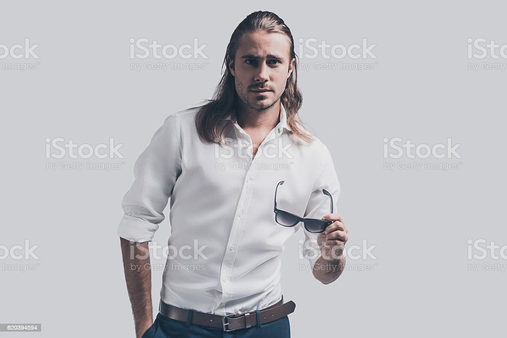 Confident in his perfect style. stock photo