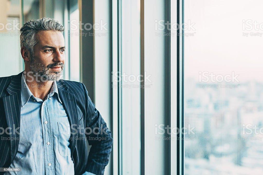 Confident in his success stock photo