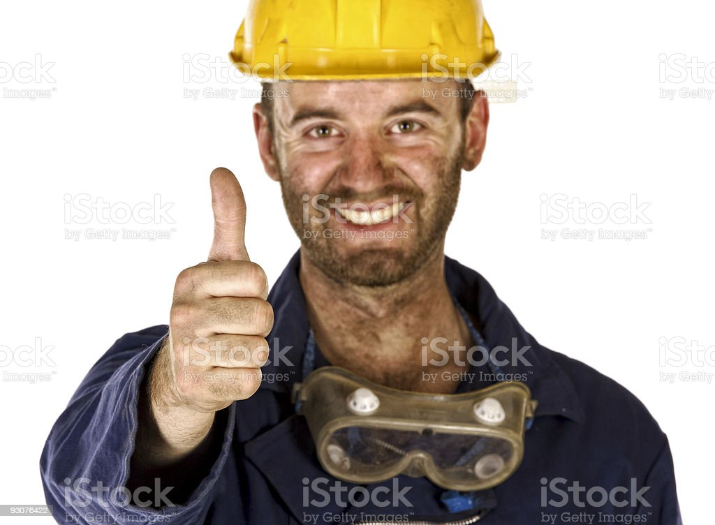 confident labourer thumn up royalty-free stock photo