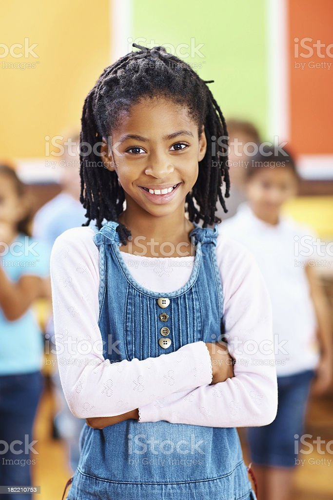Confident little African American school girl royalty-free stock photo
