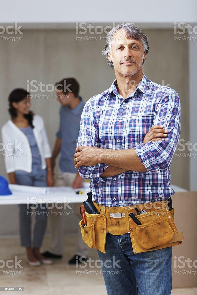 Confident male contractor stock photo