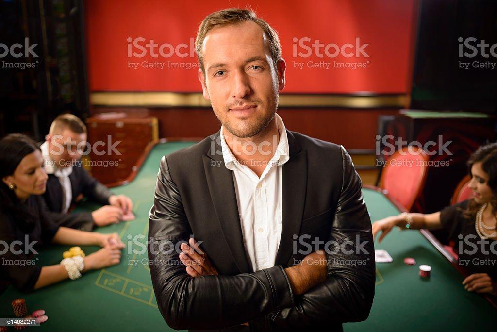 Confident Man in Casino stock photo