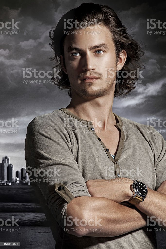 confident  man looking away stock photo