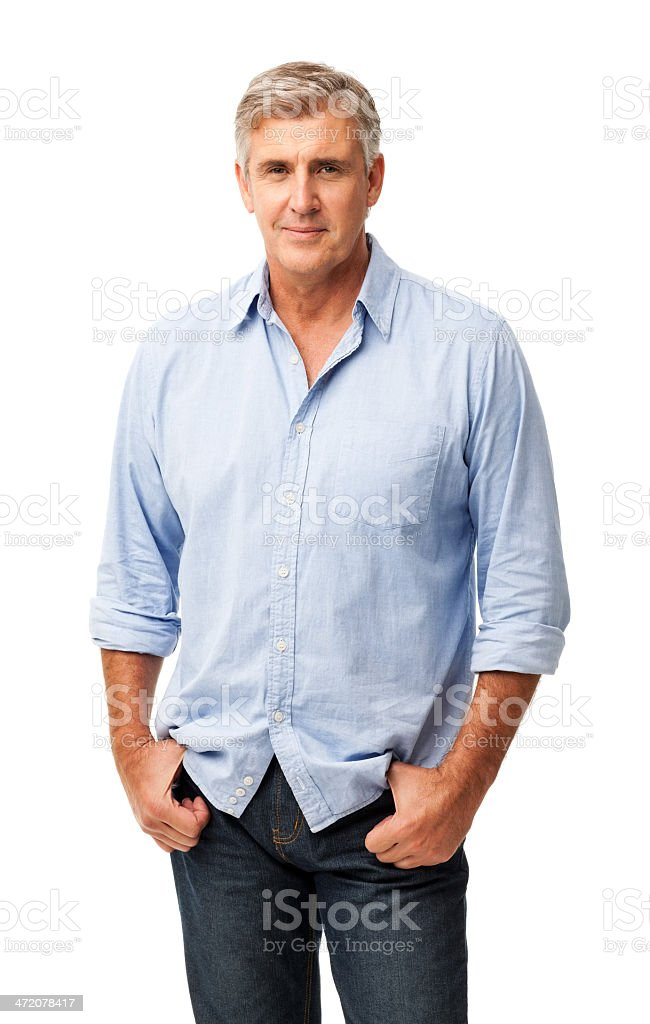 Confident Man With Hands In Pockets stock photo