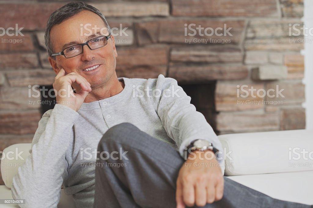 Confident mature man stock photo