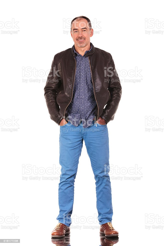 confident mature man standing stock photo