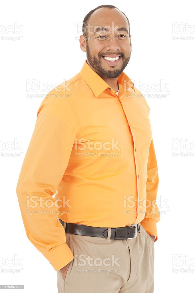 Confident Mixed Race Man With Hands in Pockets royalty-free stock photo