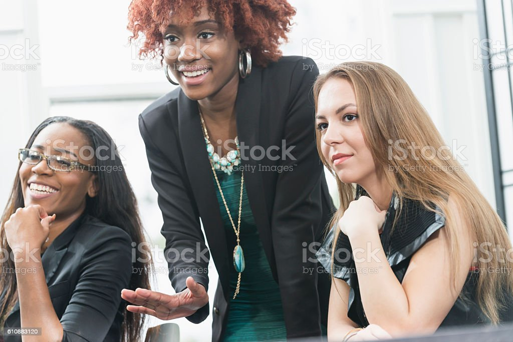 Confident multi-ethnic young business women stock photo