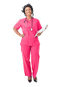 Confident nurse in pink scrubs, isolated on white