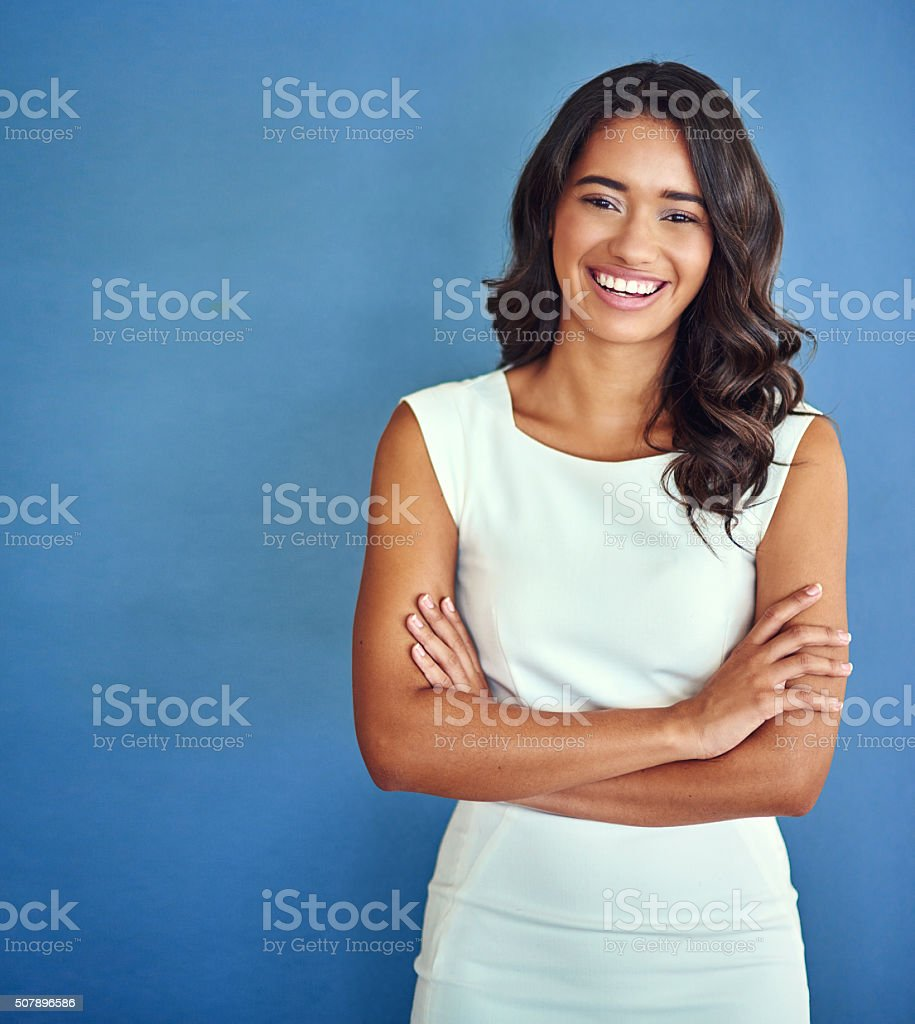 Confident of her place in the business world stock photo