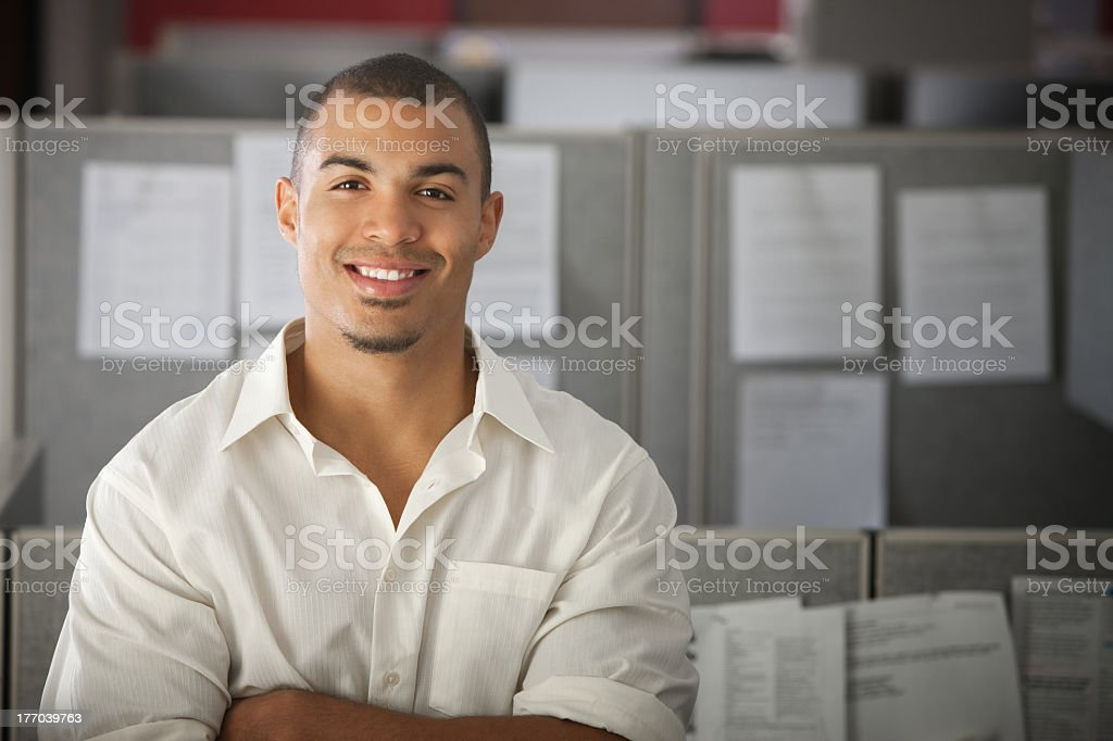 Confident office worker in white shirt stock photo
