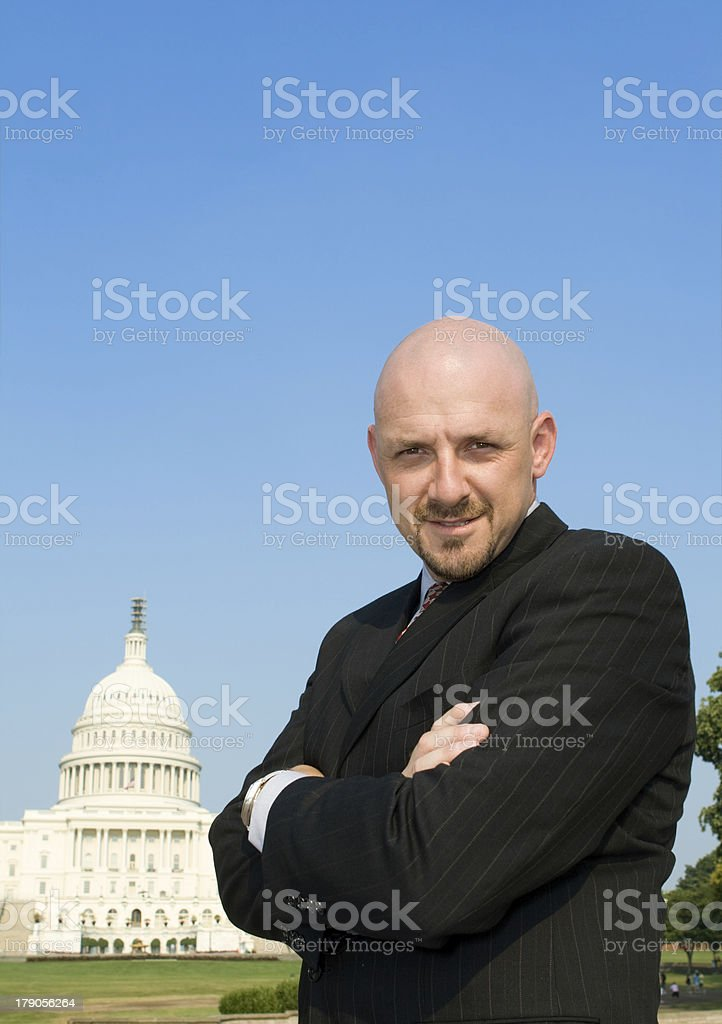 Confident Power Broker Lobbyist Outside US Capitol Building, Washington DC royalty-free stock photo