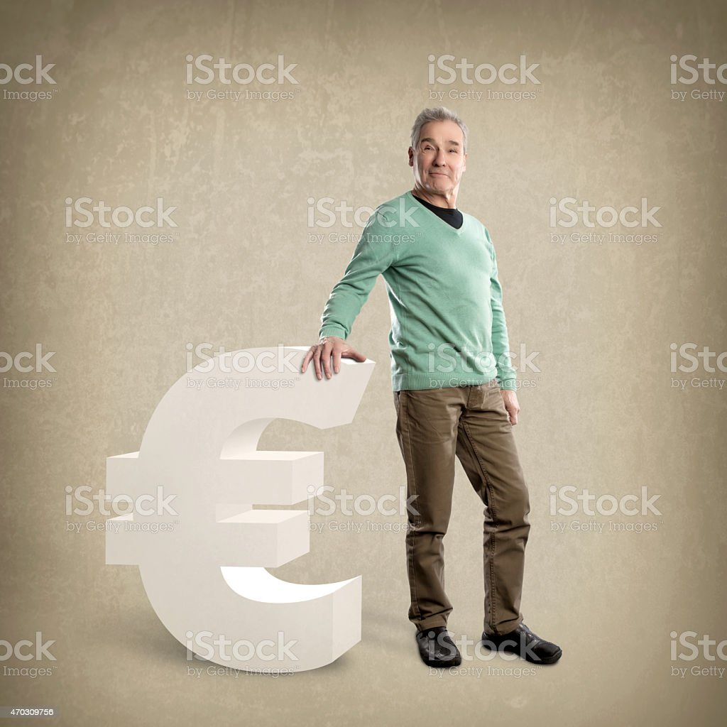 Confident Senior Man, leaning on an Euro sign - GrungeTexture stock photo
