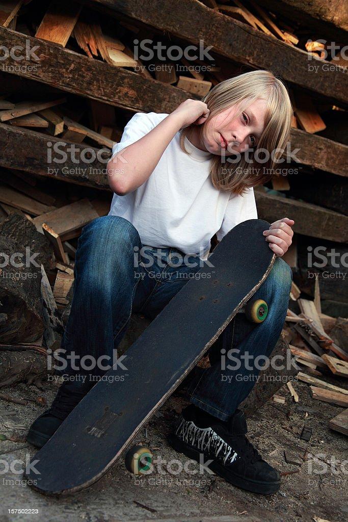 Confident skater posing for his portrait stock photo
