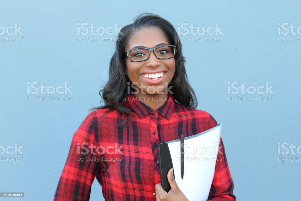 Confident smart young black female stock photo