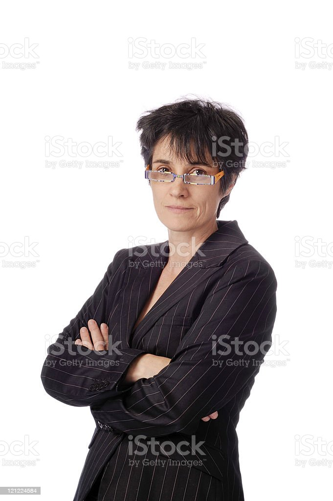 confident smiling business woman, arms crossed stock photo