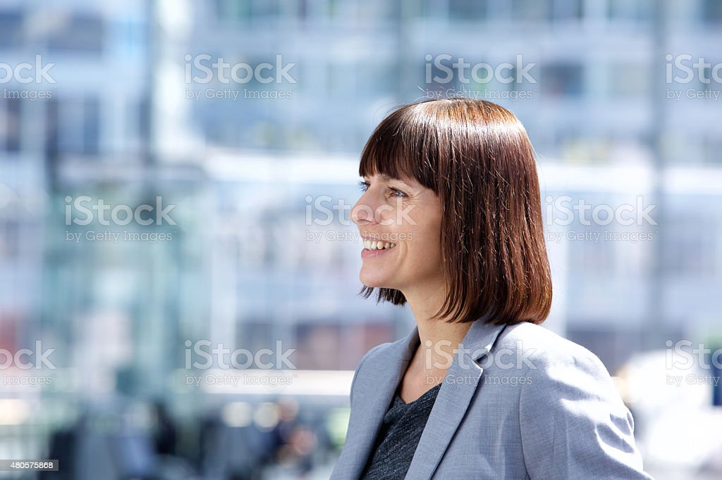 Confident smiling business woman stock photo
