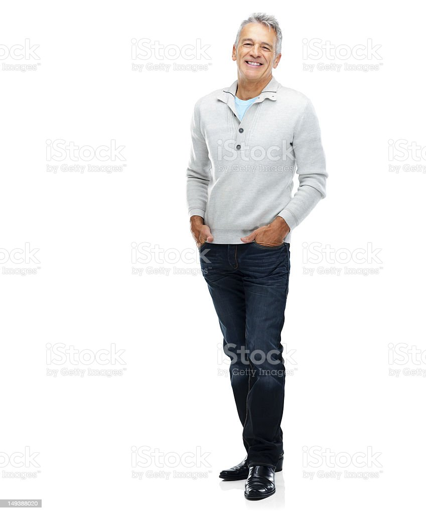 Confident, smiling senior man stock photo