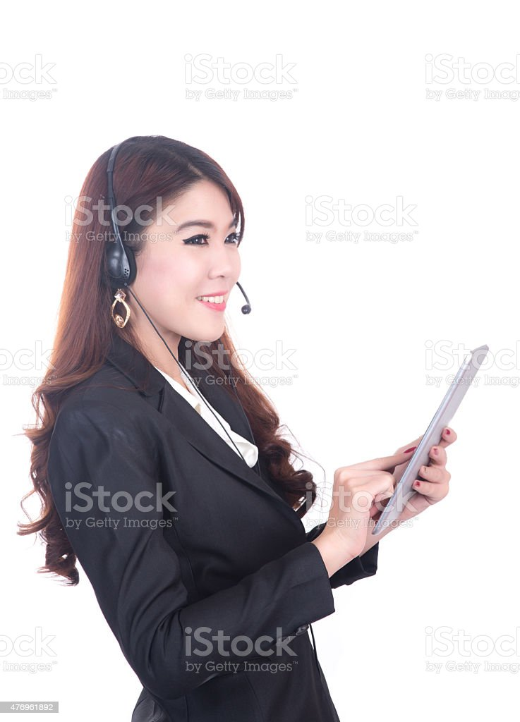 confident , smiling smart operater business woman , concept using computer tablet stock photo