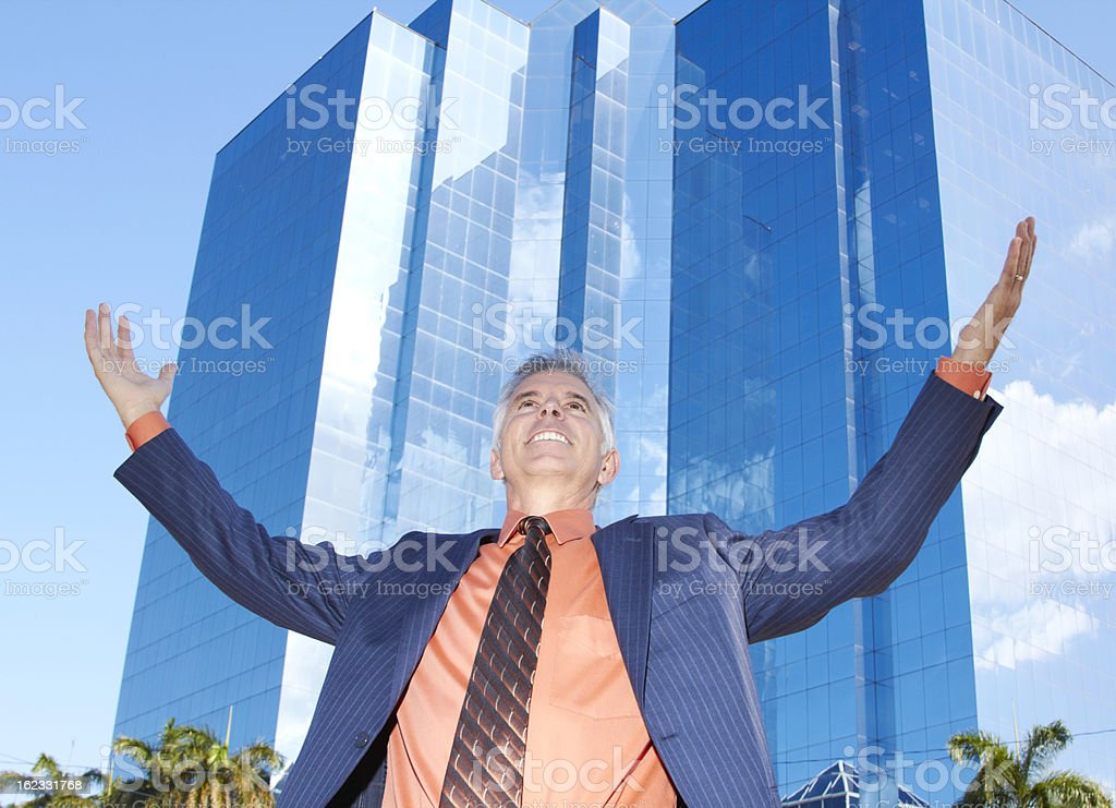 Confident Successful Mature Businessman Looking Up royalty-free stock photo