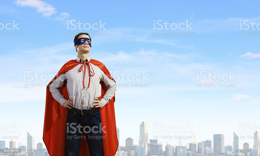 Confident superhero stock photo