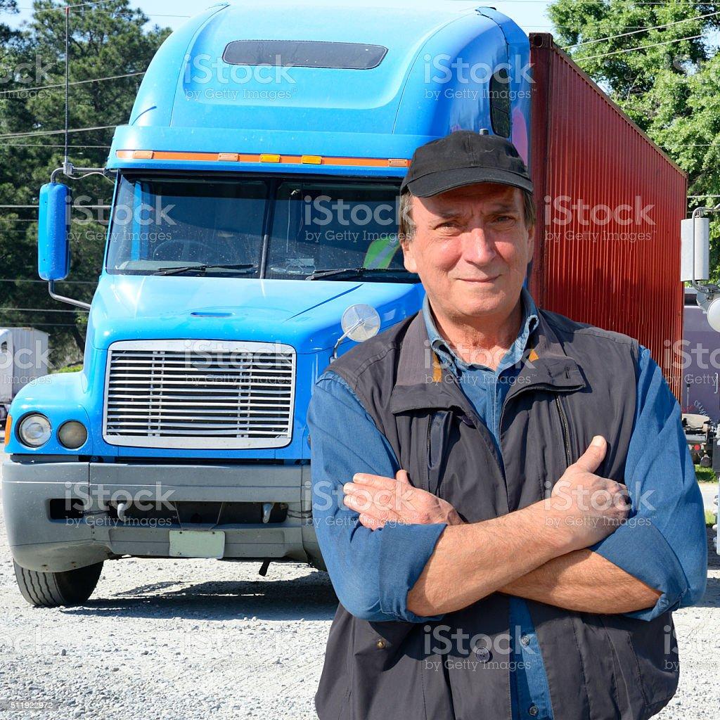 Confident truck driver stock photo