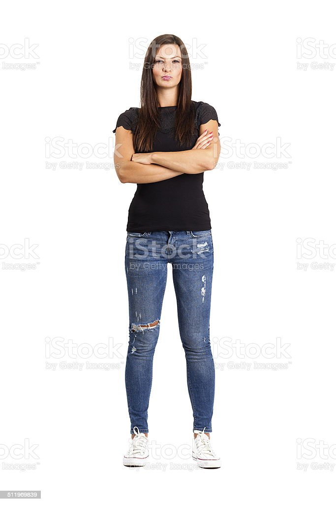 Confident unhappy woman with crossed or folded arms. stock photo