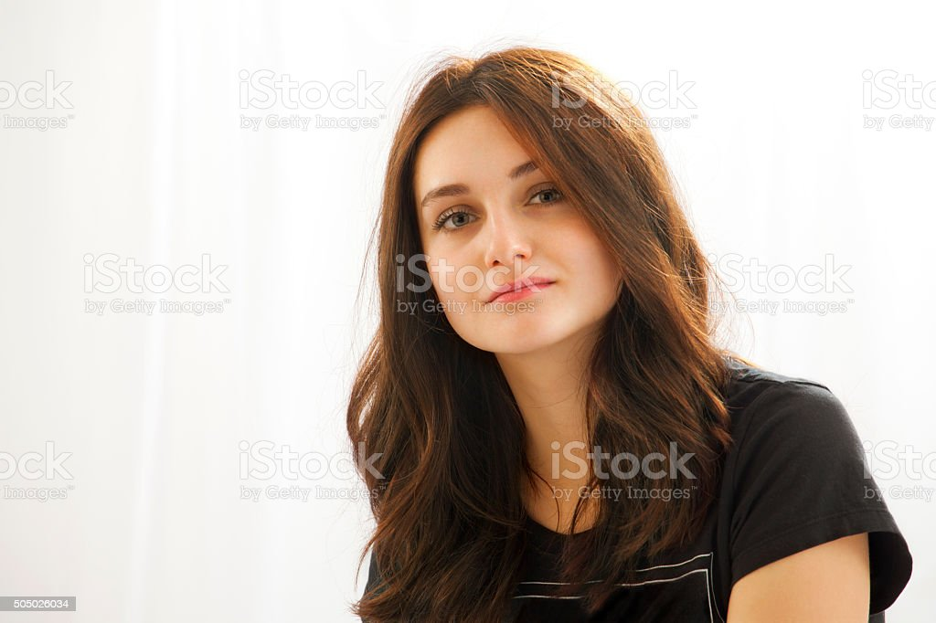 Confident view of young beautiful woman stock photo