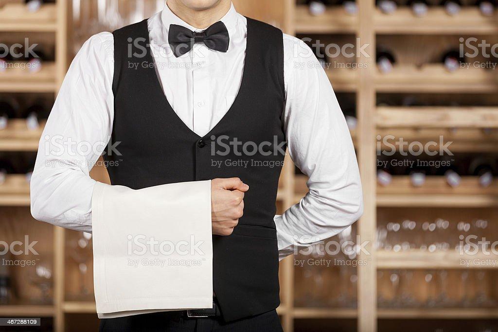 Confident waiter. stock photo