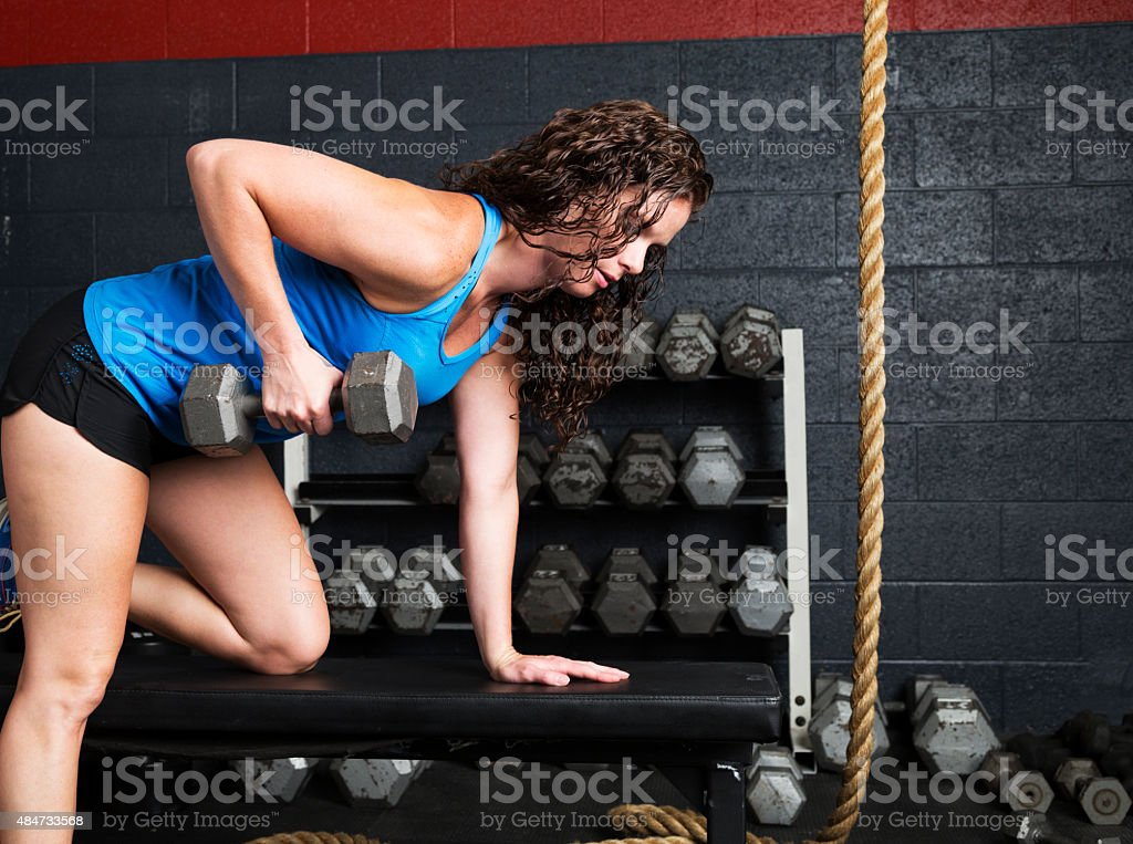 Confident Woman in Gym stock photo