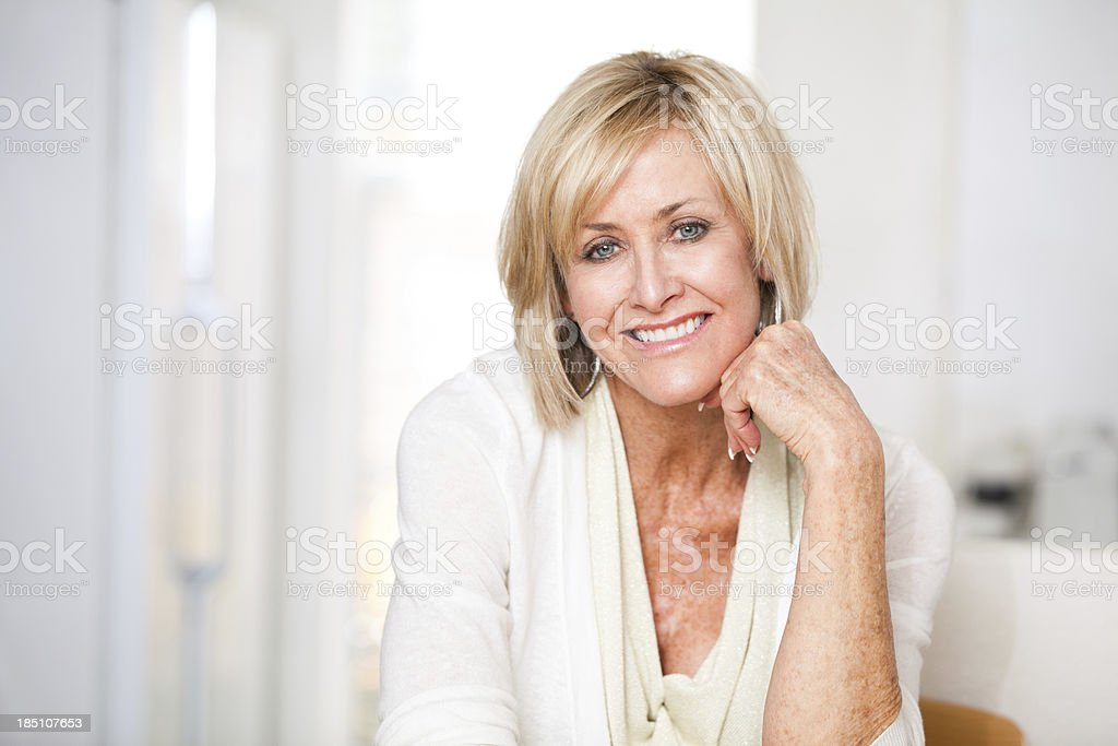 Confident woman in her late 50's, early 60's stock photo