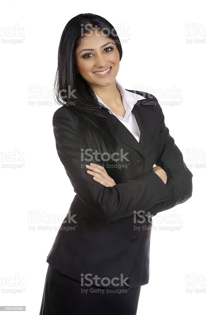 Confident woman portrait in white royalty-free stock photo