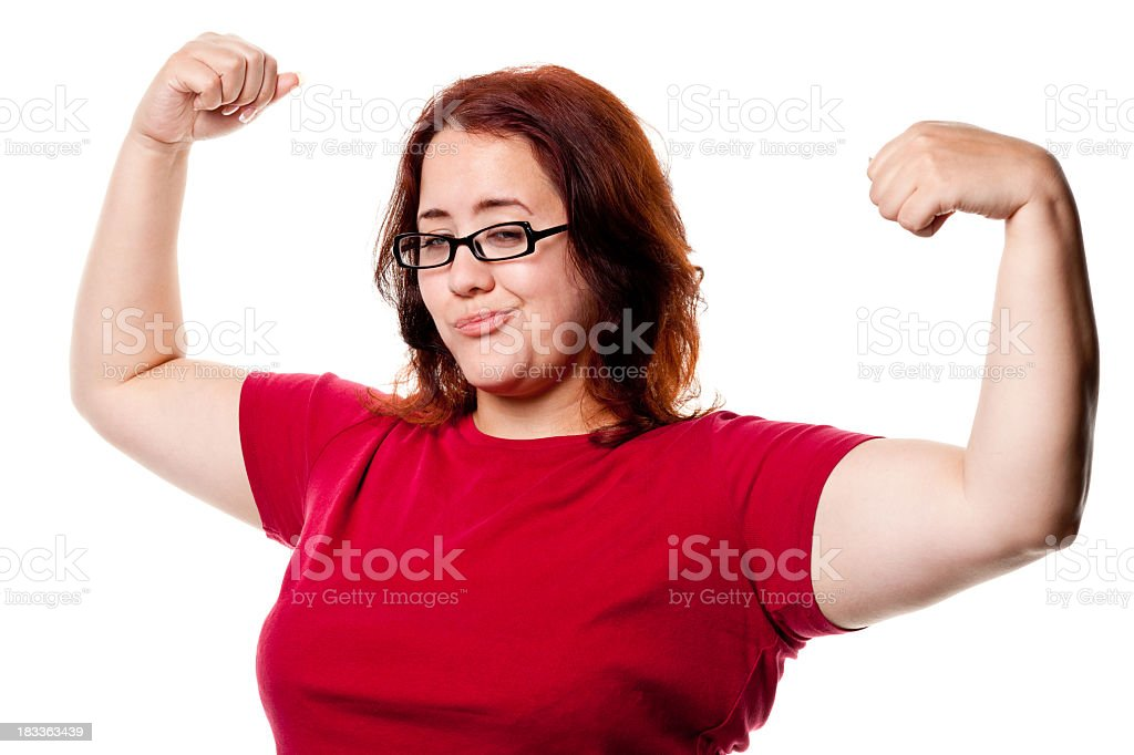 Confident Woman Shows Off Arms stock photo